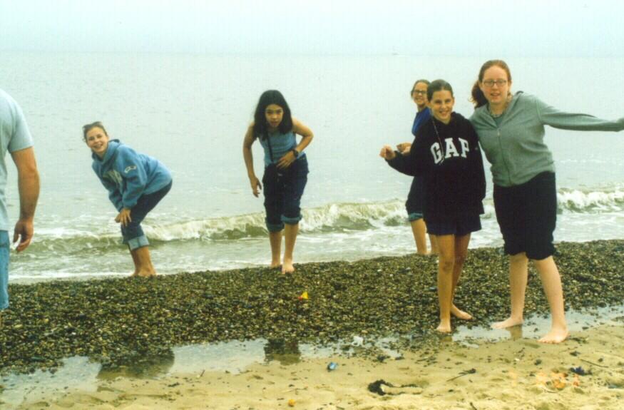 Dipping their feet in the North Sea at Yarmouth beach.