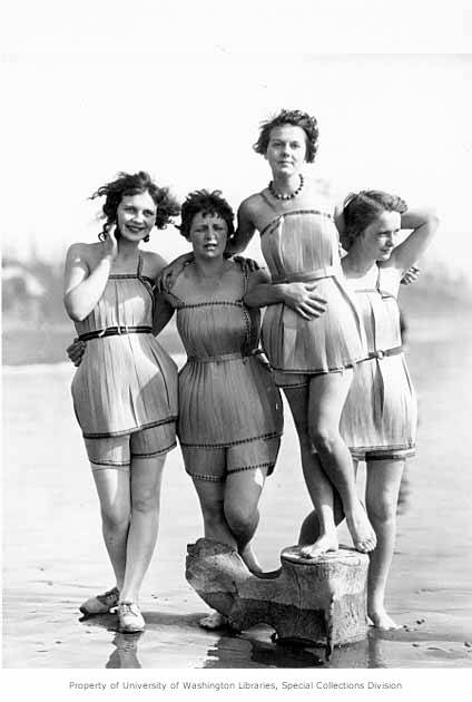 """""""Spruce Girls"""" on beach wearing spruce wood veneer bathing suits during """"Wood Week"""" to promote products of the Gray Harbor lumber industry, Hoquiam, Washington, ca. 1929"""