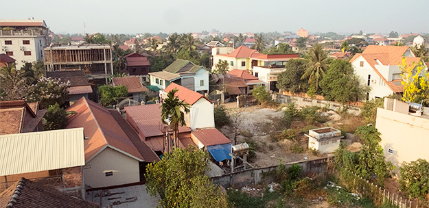 The view towards Old Town, Siem Reap, Cambodia, April 2013
