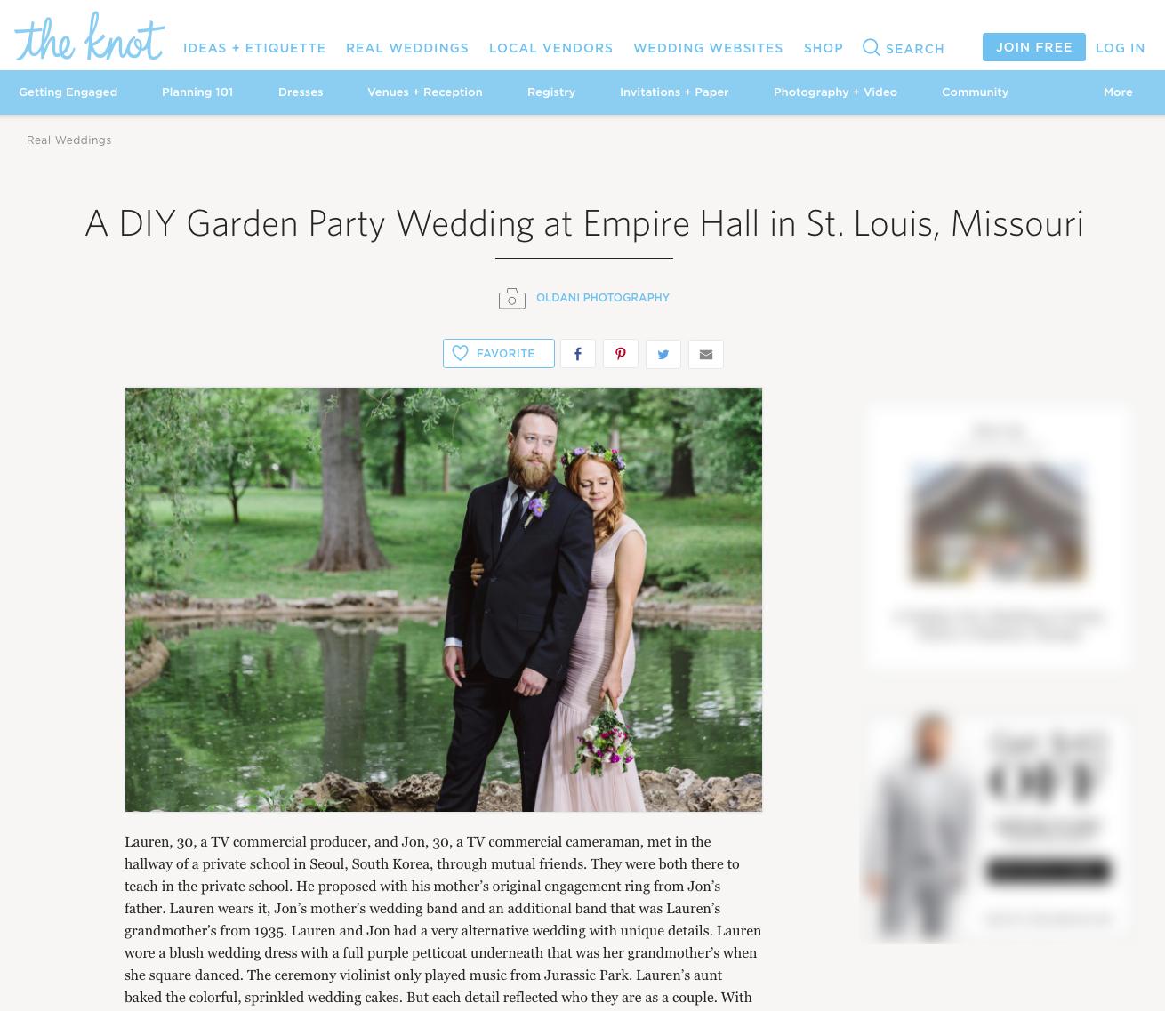 The Knot Oldani Photography St. Louis Wedding Photographer