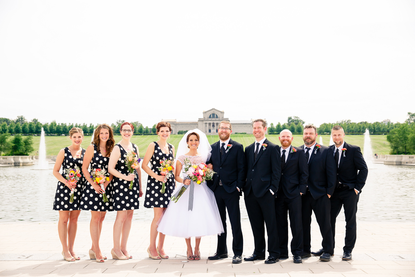 Wedding Day Photos in Forest Park - Black and White Color Theme