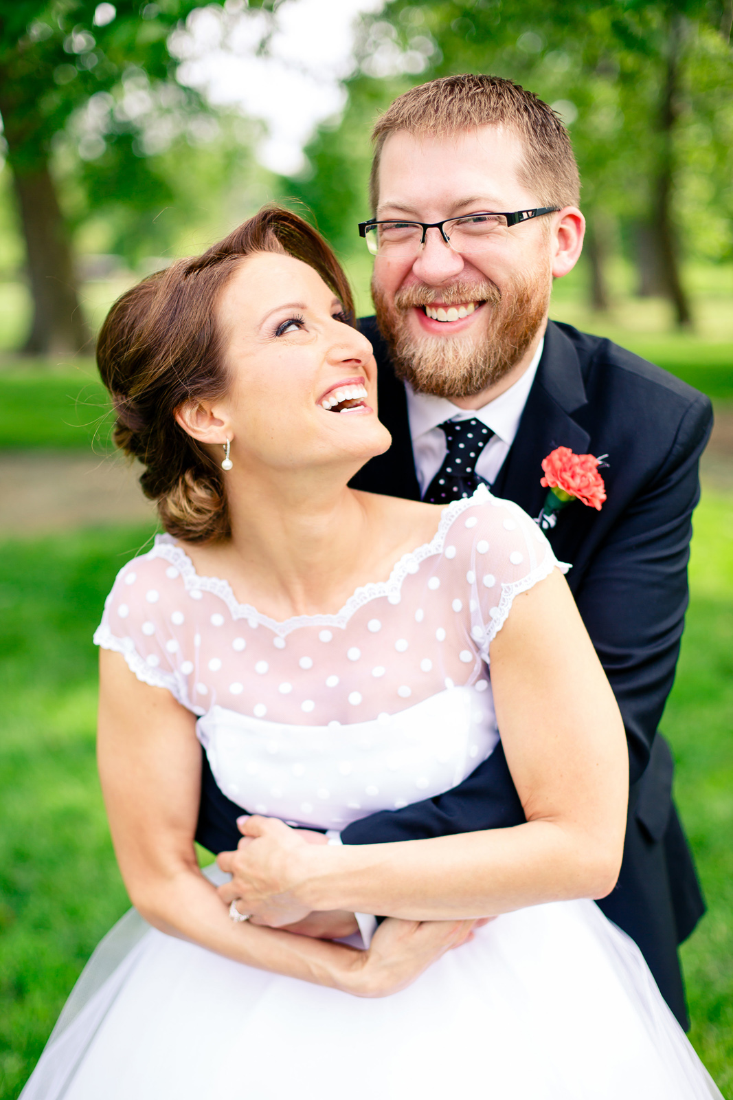Wedding Day Photos in Forest Park - Bride with short wedding dress
