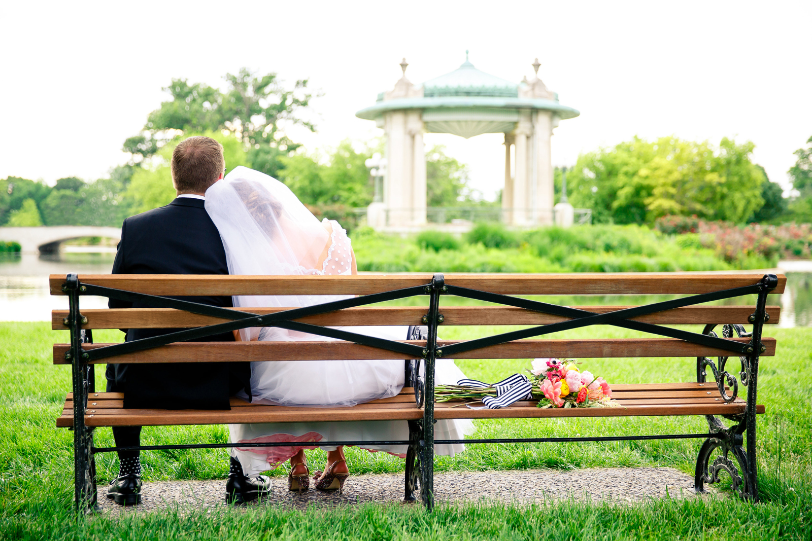 Bride and Groom at The Muny in St. Louis Forest Park by Oldani Photography