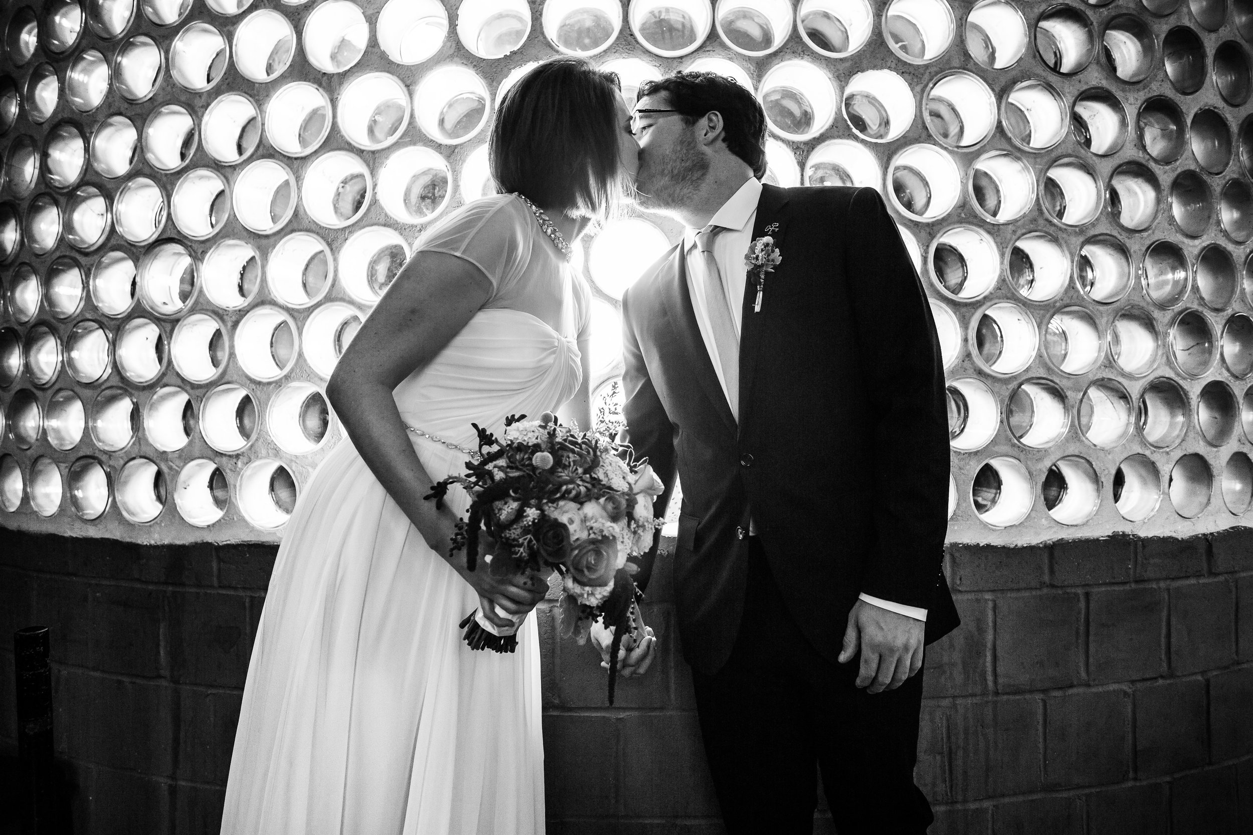 Bride and Groom at the City Museum for Wedding Day Photos by Oldani Photography St. Louis Wedding Photographers