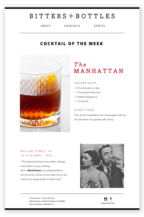 """Email example for the Bitters + Bottles Weekly Newsletter and """"Sprit Guide"""""""