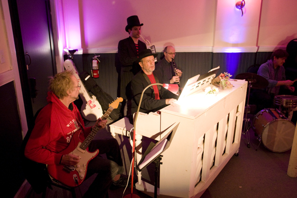 The Carny Band: left to right, Peter Tork, Danny Bryck, Nick Thorkelson, Maurice Martin, and Tim Jackson