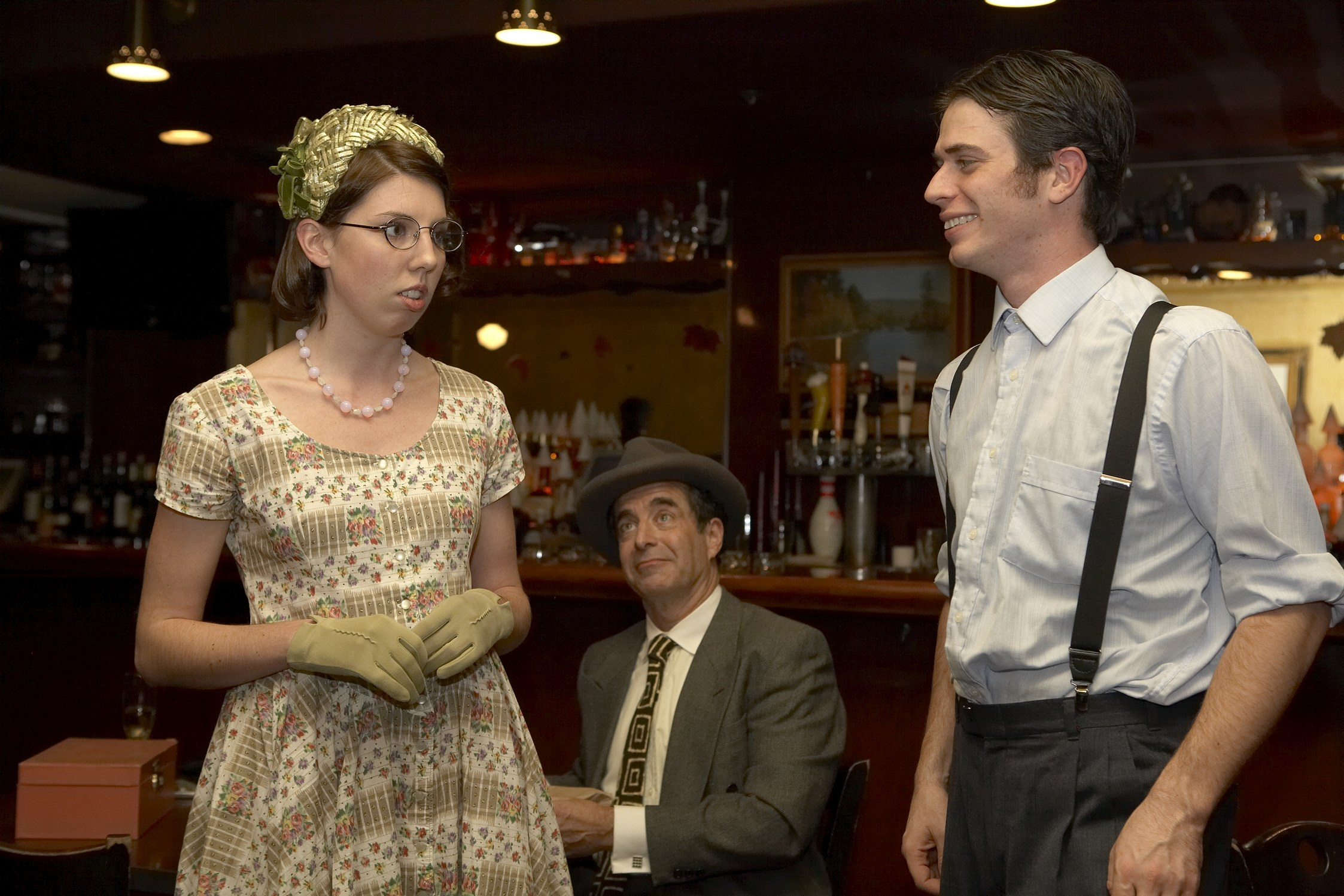 From left: Mary-Elizabeth Murray (Lorene) (l),  Robert D. Murphy (Joe), and Timothy Hoover (Dudley)