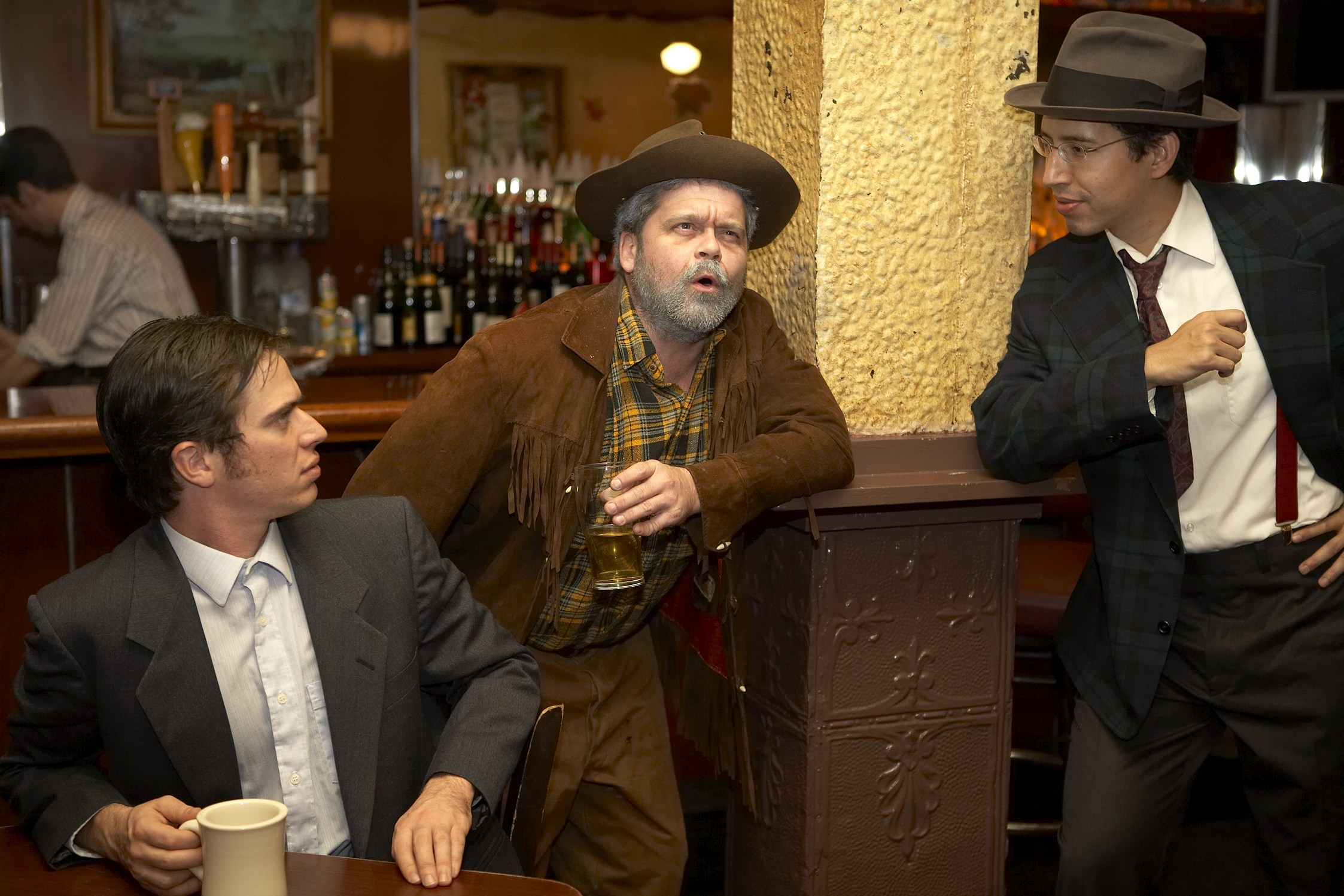 From left: Timothy Hoover (Dudley), Allen Phelps (Kit Carson), and Rafael Marinho (Harry)