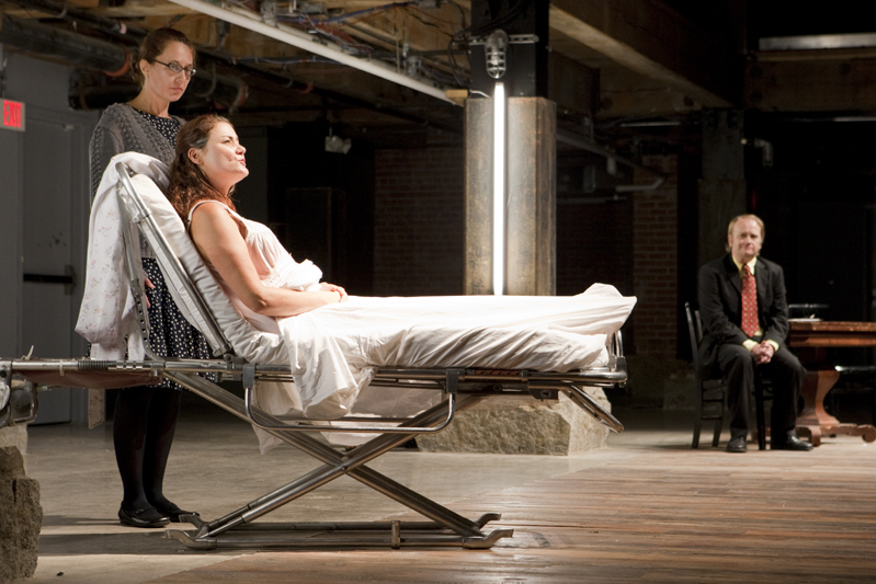 """From left: Janelle Day Mills, Lisa Caron Driscoll, and Brian Sergent in """"A Kind of Alaska"""""""