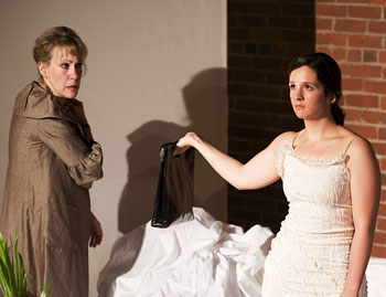 """""""The Romantic""""  Shelley Brown as Angie and Lia Wright as Caroline"""