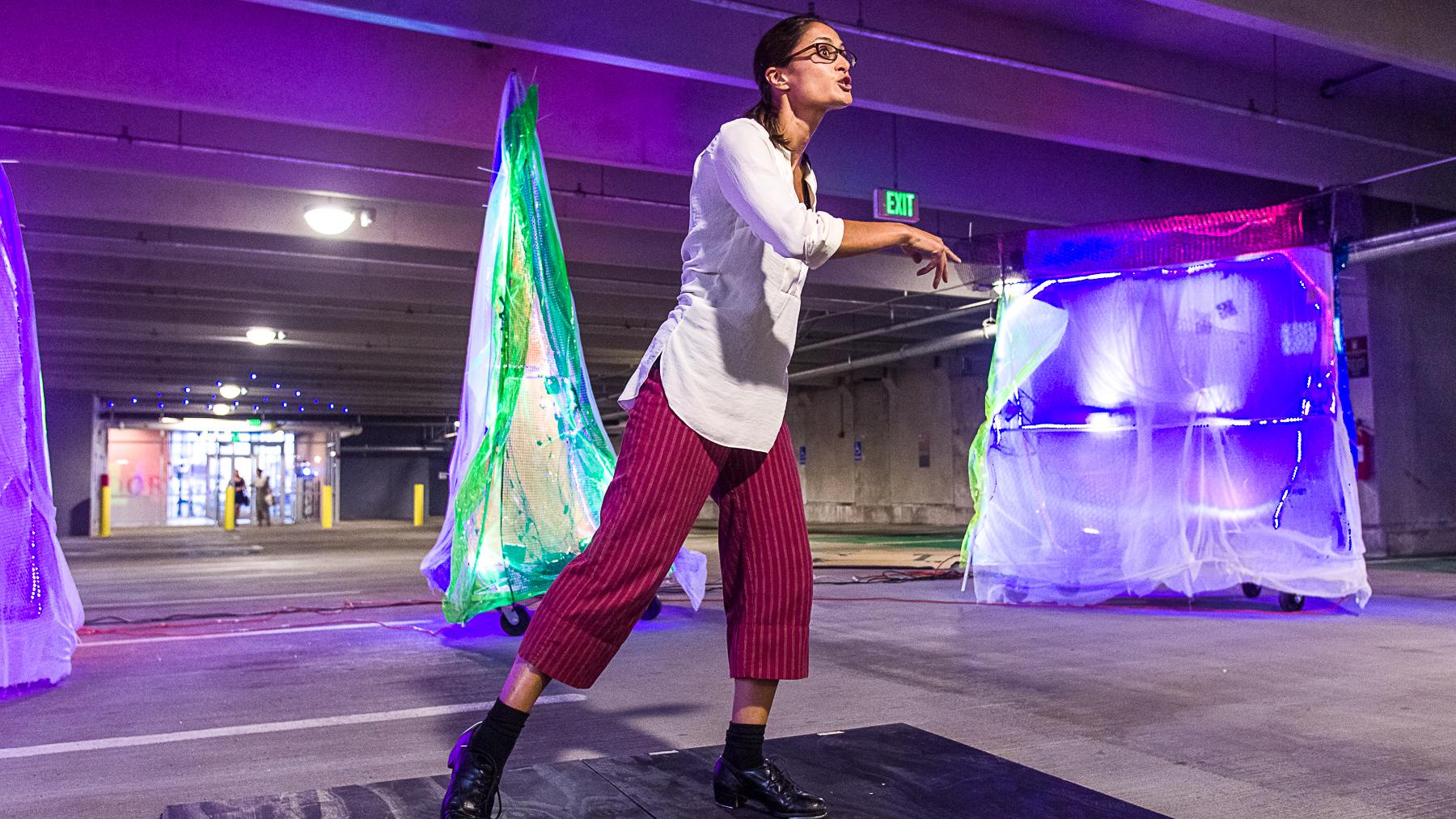 Kria Sakakeeny performing her piece  Soul Tapping