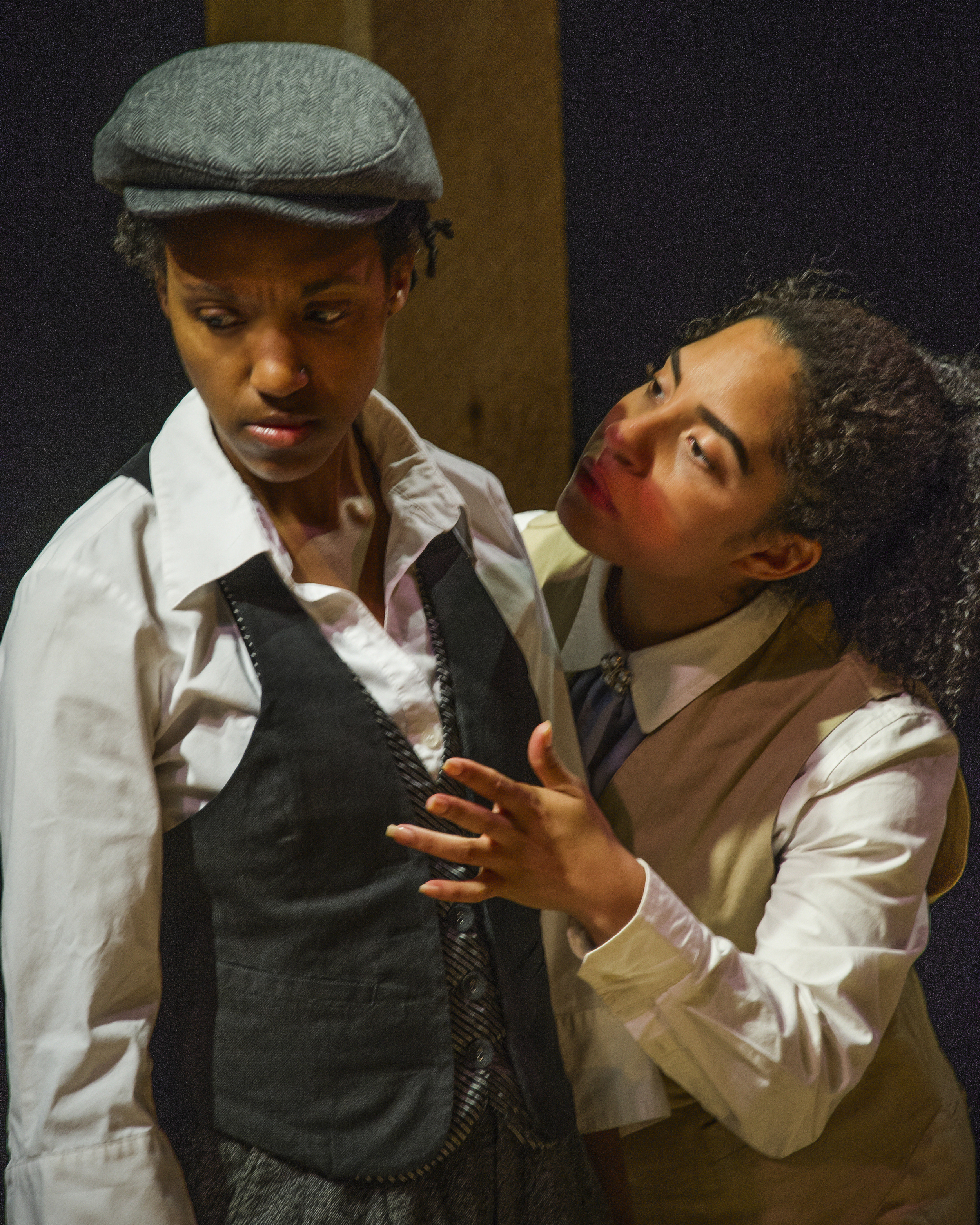 Robin JaVonne Smith (left) plays Anna Lion and Lauren Foster plays Walt Whitman in Fort Point Theatre Channel's premiere production of  Dreambook  photo copyright 2016 Carolle Photography