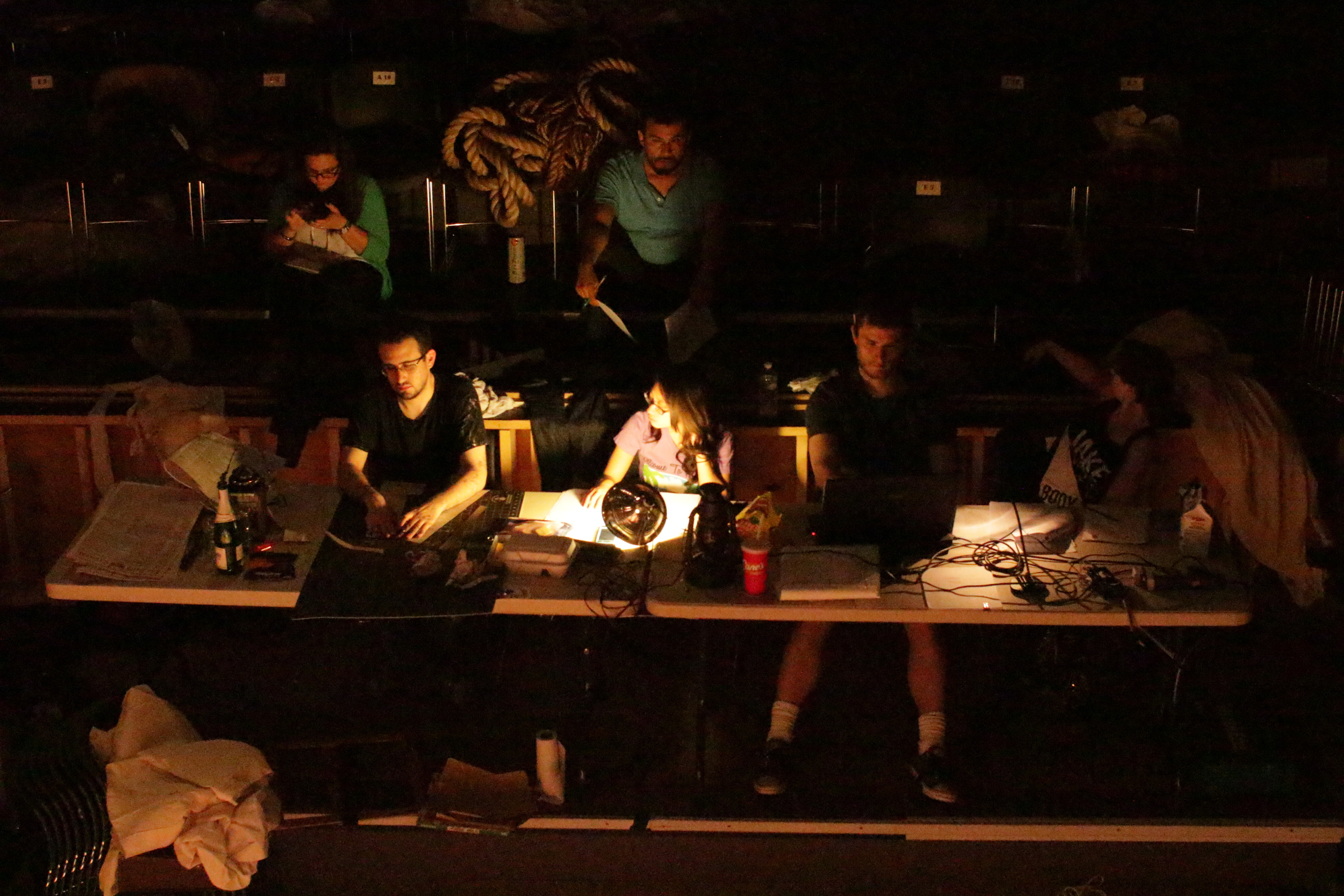 Behind the scenes  Top, from left: Heather Oshinsky (costumes), Jaime Carrillo (director)  Bottom, from left: Joshua Kigner (set), Naomi Ibasitas (stage manager), Ian W. King (lights); photo copyright 2016 by Roberto Mighty