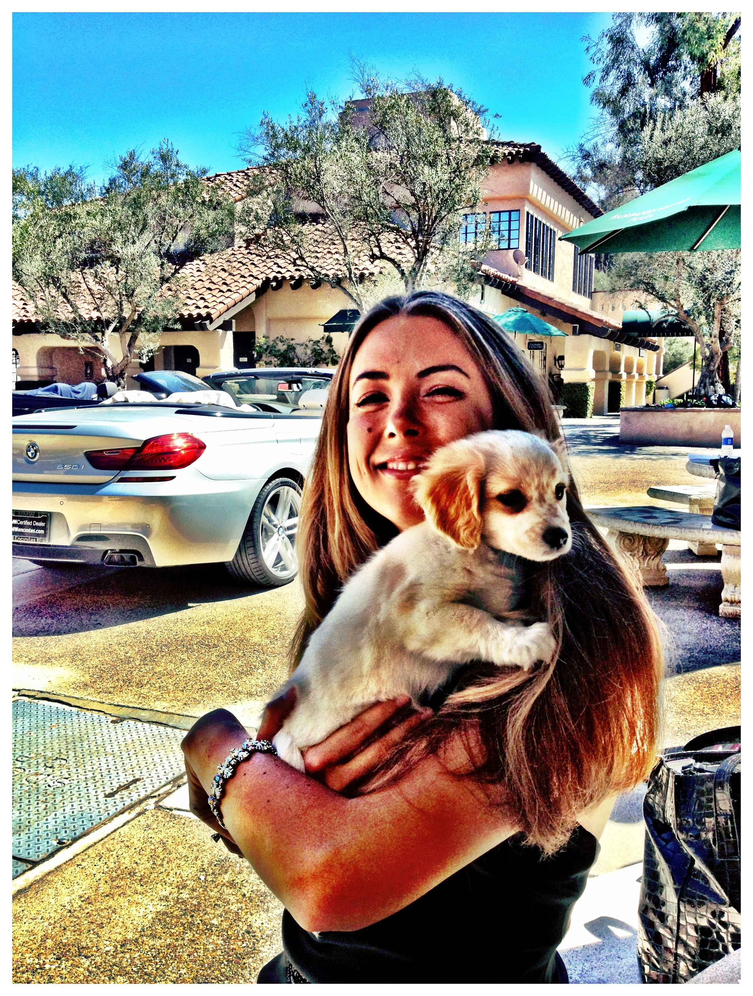 SKY's Amber cuddles with a puppy while volunteering for the Helen Woodward Animal Center.