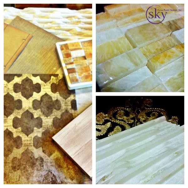 Clockwise: flooring samples, tile around reception desk, tile for wall behind reception desk