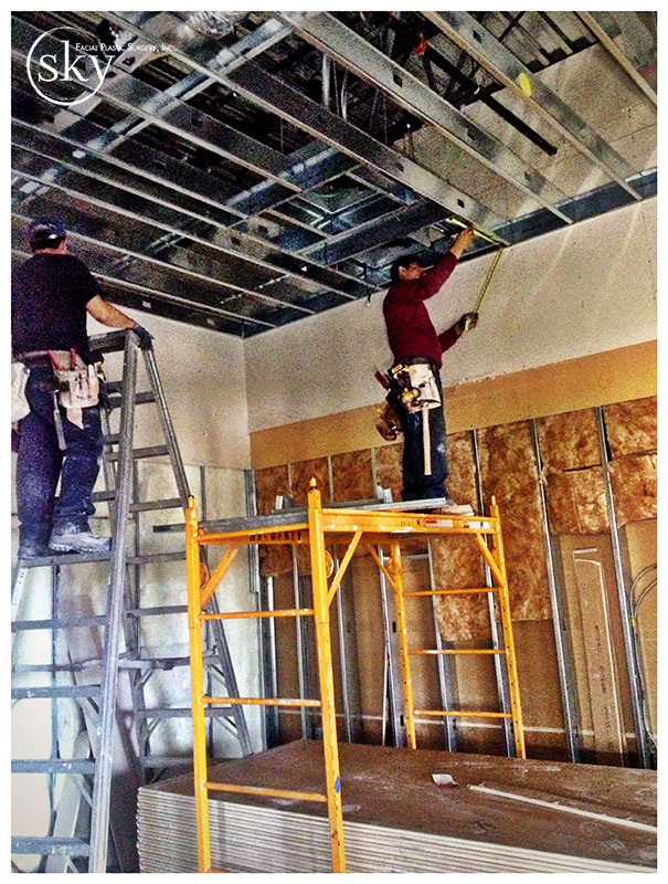 PHOTO: installing drywall in the lobby
