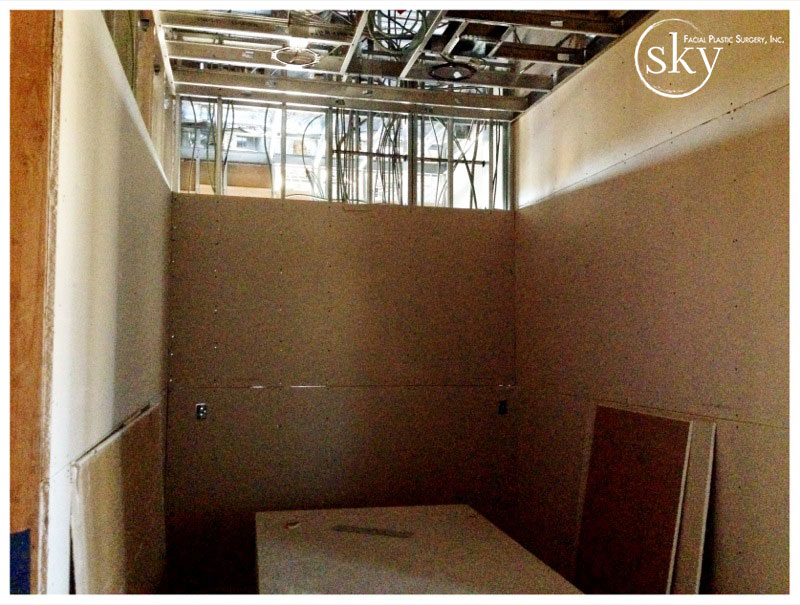 PHOTO: Drywall in recovery is almost completely up.