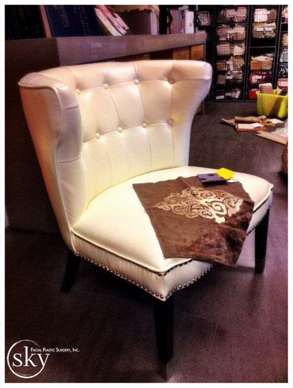 PHOTO: Off-white wing-backed guest chair - another angle.