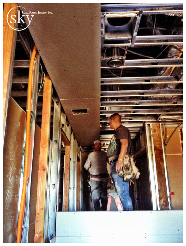 PHOTO: Hardlid ceilings are being installed.