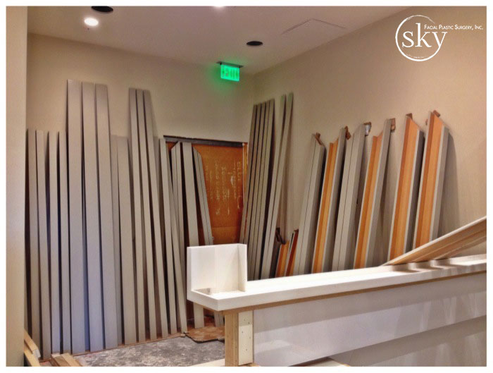 PHOTO: Painted strips of wood standing vertically.
