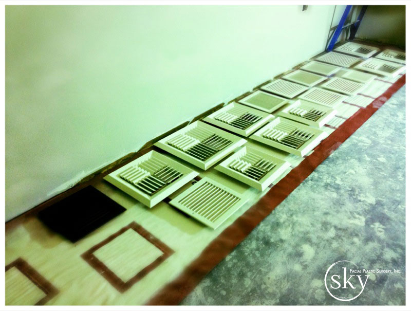 PHOTO: Vents laid out on the ground, freshly painted