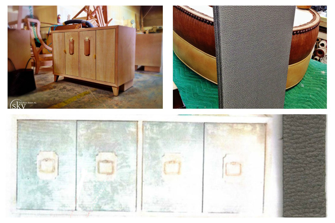 PHOTO: Two photos of the construction of the coffee credenza and one photo of the original design sketch.