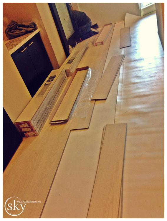 PHOTO: Wood floors being installed.