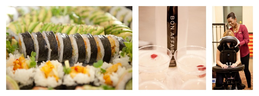 PHOTOS: Close up of sushi, cocktails and chair massage.