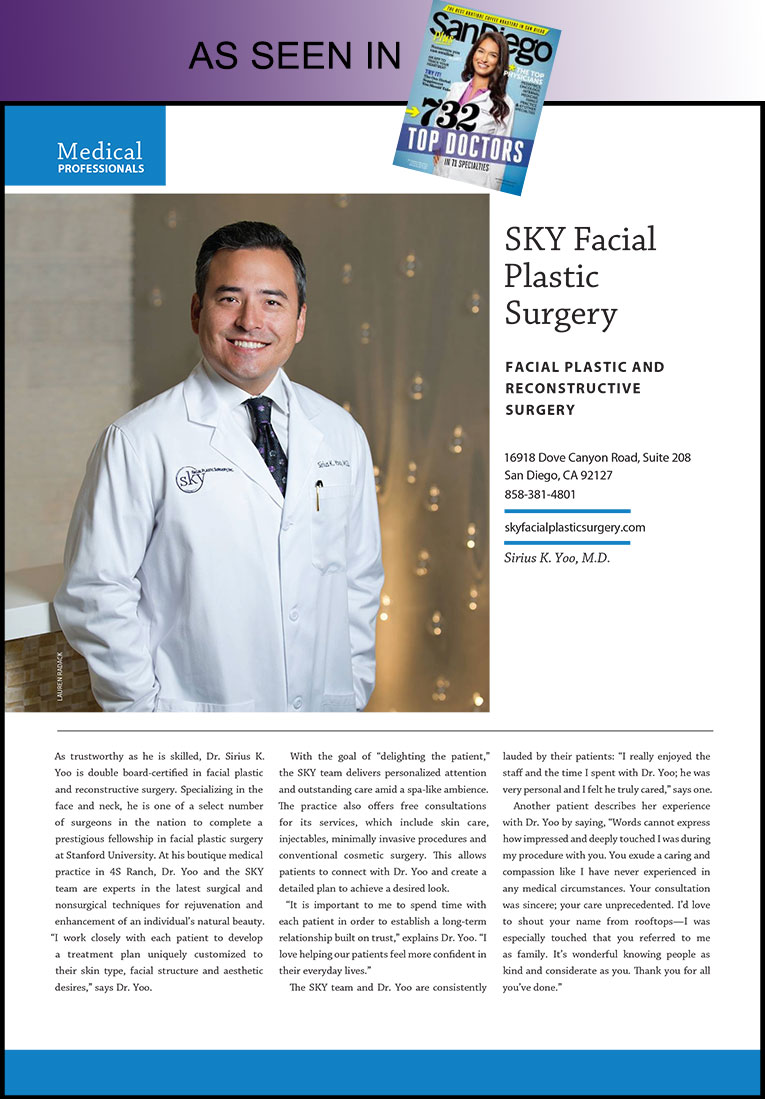 PHOTO: Dr. Yoo's profile featured in San Diego Magazine's Top Doctor issue.
