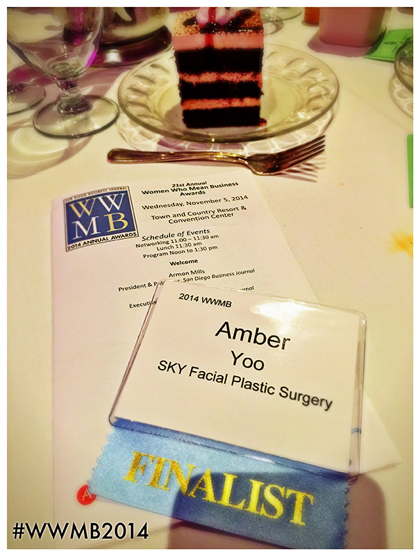 PHOTO: Amber's FINALIST name tag and the schedule of events for San Diego Business Journal's Women Who Mean Business awards luncheon.