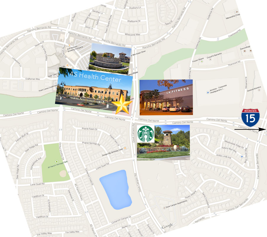 PHOTO: Map showing location of SKY Facial Plastic Surgery in 4S Ranch, San Diego.