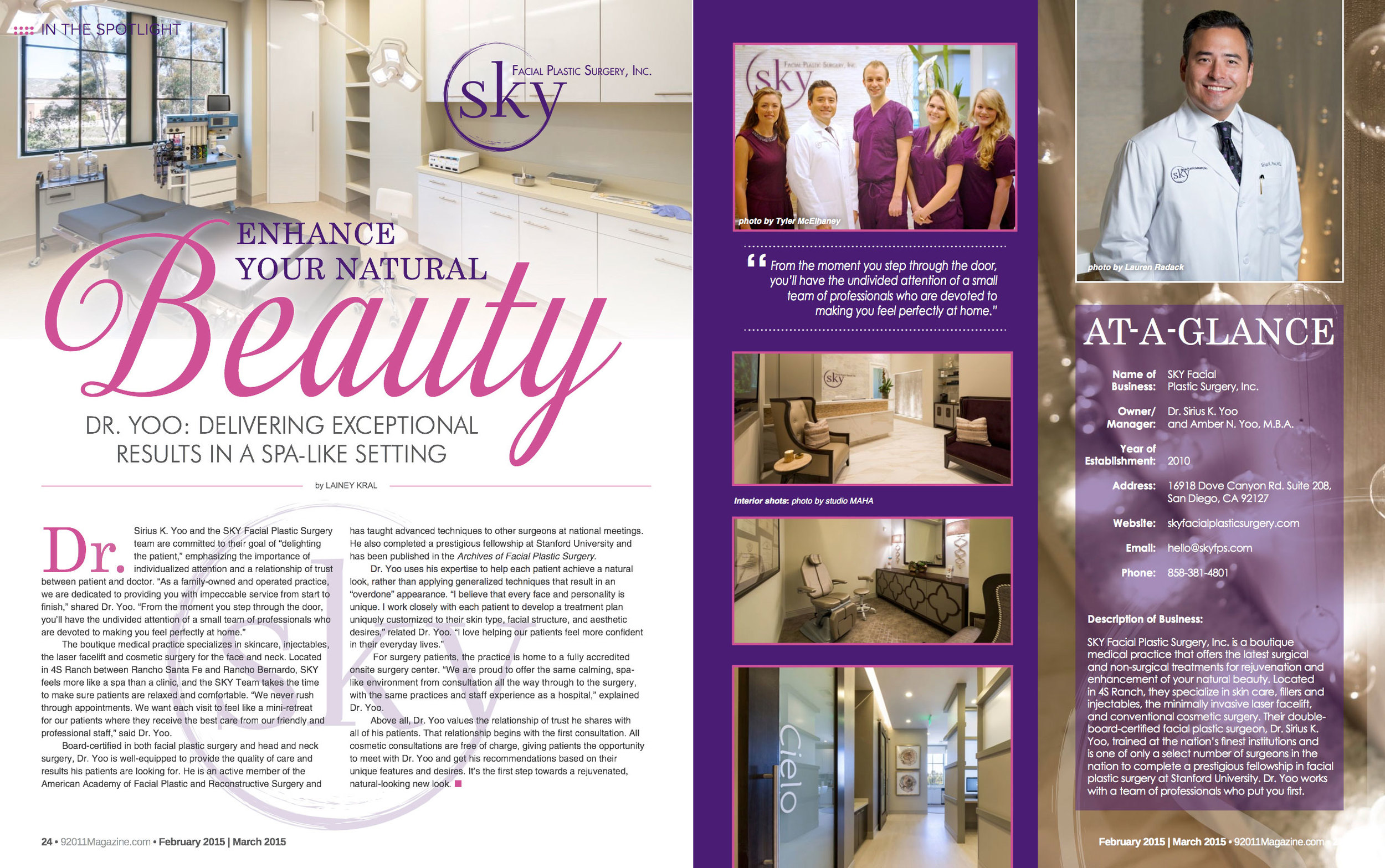 PHOTO: SKY Facial Plastic Surgery featured in 92011 Magazine