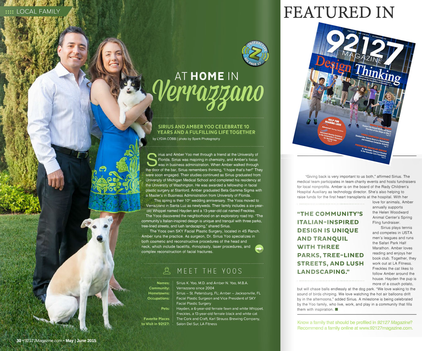 """PHOTO: Image of the Yoo """"Family Feature"""" article in the 92127 Magazine."""