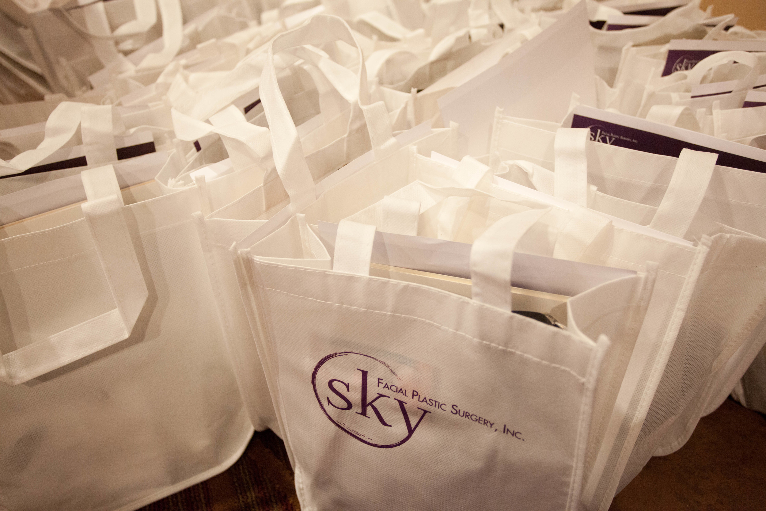 PHOTO: Gift bags with SKY's logo waiting for pick-up.