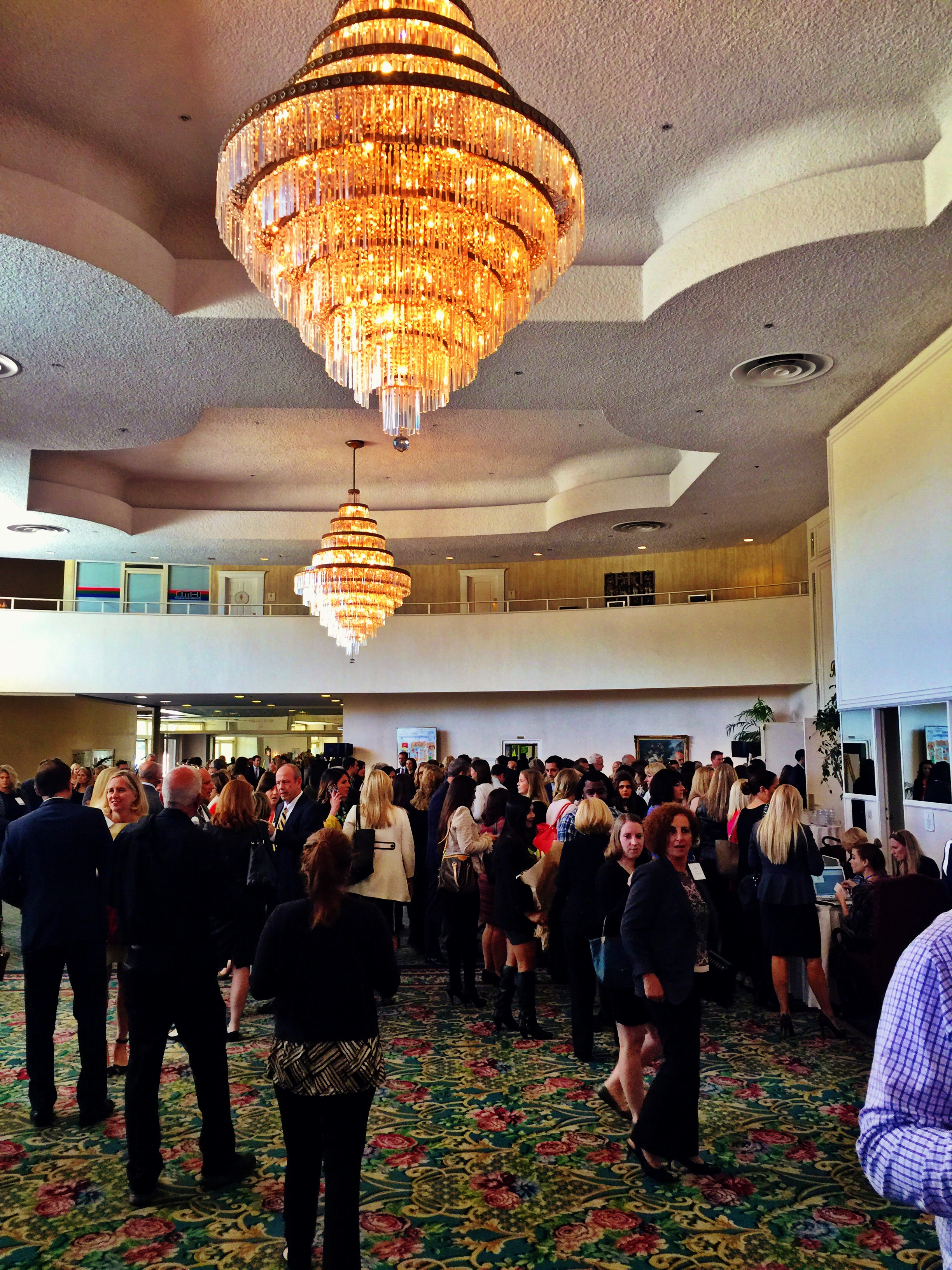 Guests mingling in the lobby