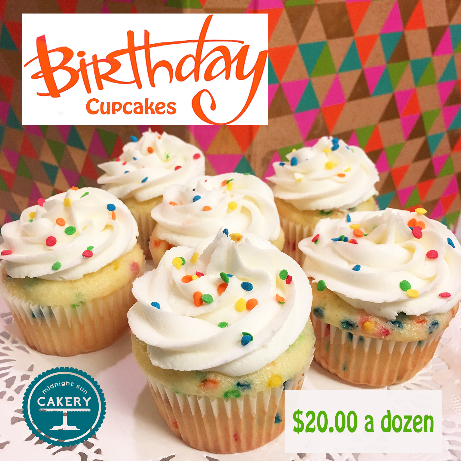 """Our delicious white almond confetti cake iced with vanilla buttercream and topped with colorful sprinkles! Perfect for those parties at school! These can be ordered """"last minute."""""""