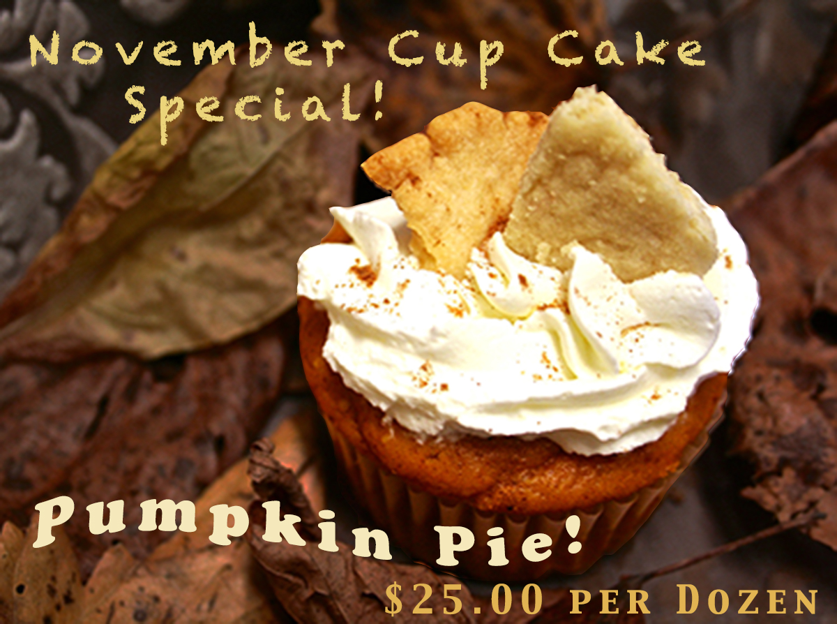Just like the pie - these cupcakes are made with our rich moist pumpkin cake iced with real whipped cream and garnished with a flakey pie crust!  YUM!