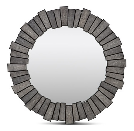 "Grey Faux Shagreen Mirror  34""d   MGCLAUDE"