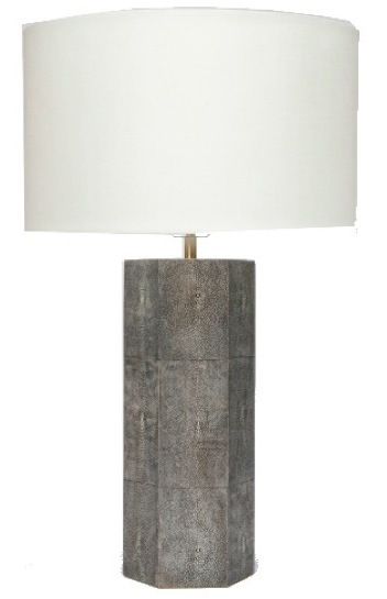 Faux Shagreen Lamp in Grey with Linen Shade  19dx28h   MGPOSTONG