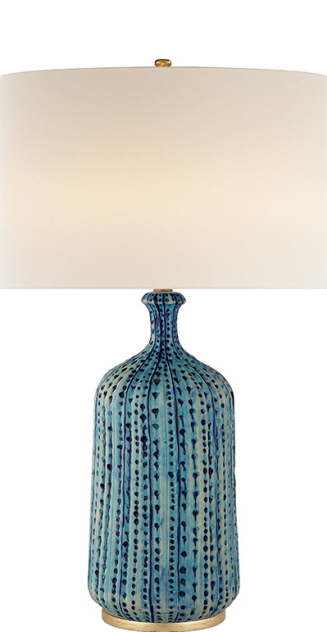 "Culloden Ceramic Table Lamp in Pebbled Aquamarine w Linen Shade   30.5""h   VCARN3608A"