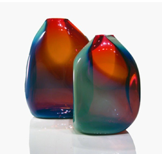 "Soft Box Hand Blown Glass Vase in Shiny Cherry Turquoise  7""X5""×12""h, 9""X6""×16""h, or 10""X7""×22""h"