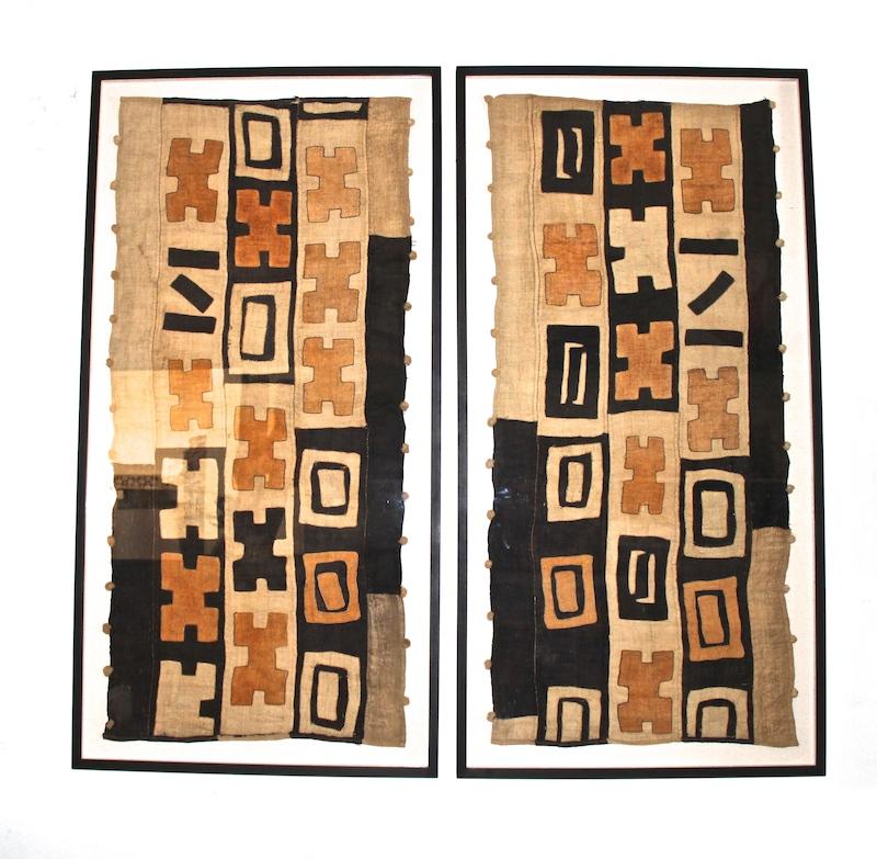 Vintage Kuba Cloth Framed   29×57 each   AF141AA
