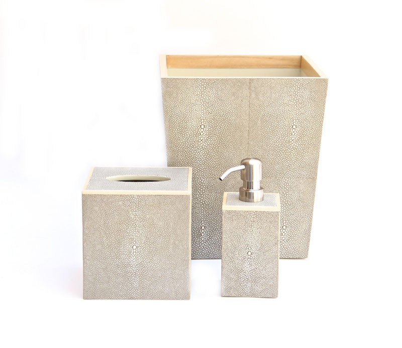 Manchester Faux Shagreen Bath Collection in Sand  Tissue Box - 5.5SQ x 5.75H PGMANTBS  Square Waste Basket - 9SQ x 10.75H PGMANWBSS  Soap Pump - 3SQ x 7H PGMANSPS