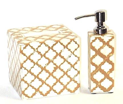 Moorish Tile Pattern Natural and Amber Bath Accessories    Tissue Box   BIT79B     Soap Pump   BIT79C