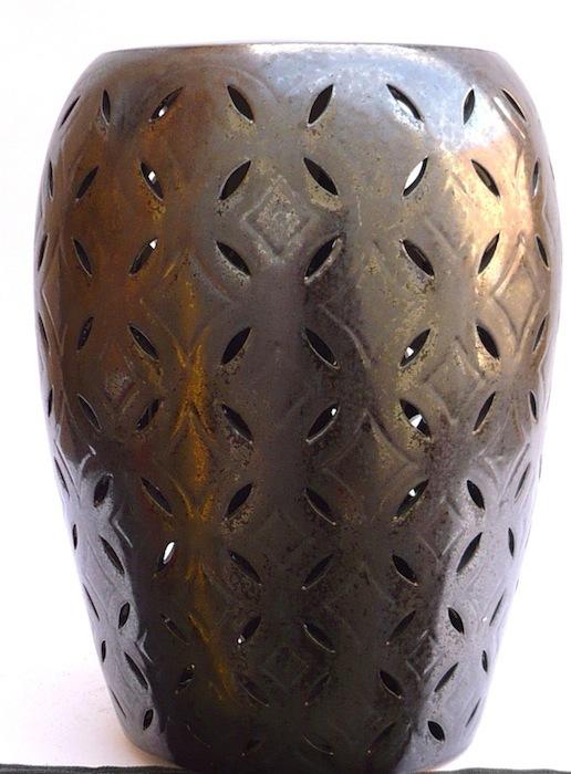Lattice Garden Stool, Gunmetal,   14dx20h   EY12780GM