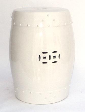 White Ceramic Drum Stool   14×18h   EY1254WT