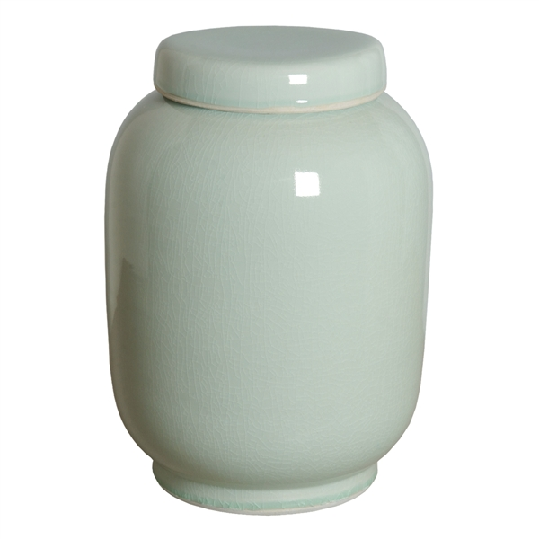 Tall Lantern Jar w/Lid, Celadon Ice  10dx16h   EY4185CI