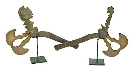 Ceremonial Hatchet w/Carved Wood Handle   Tulu Tribe,  DNRC    AF085