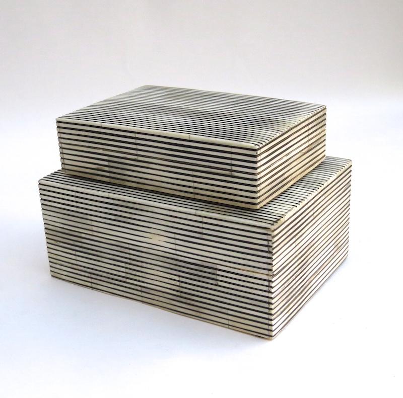 "Ebony Skinny Stripe Bone Box   6×4x1.5""h   BIR104S     7×5x3""h   BIR104L"