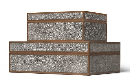 "Cool Grey Faux Shagreen Box 12.5×10x4.5""h MGCOOPGL  7×9x4h MGCOOPGS"